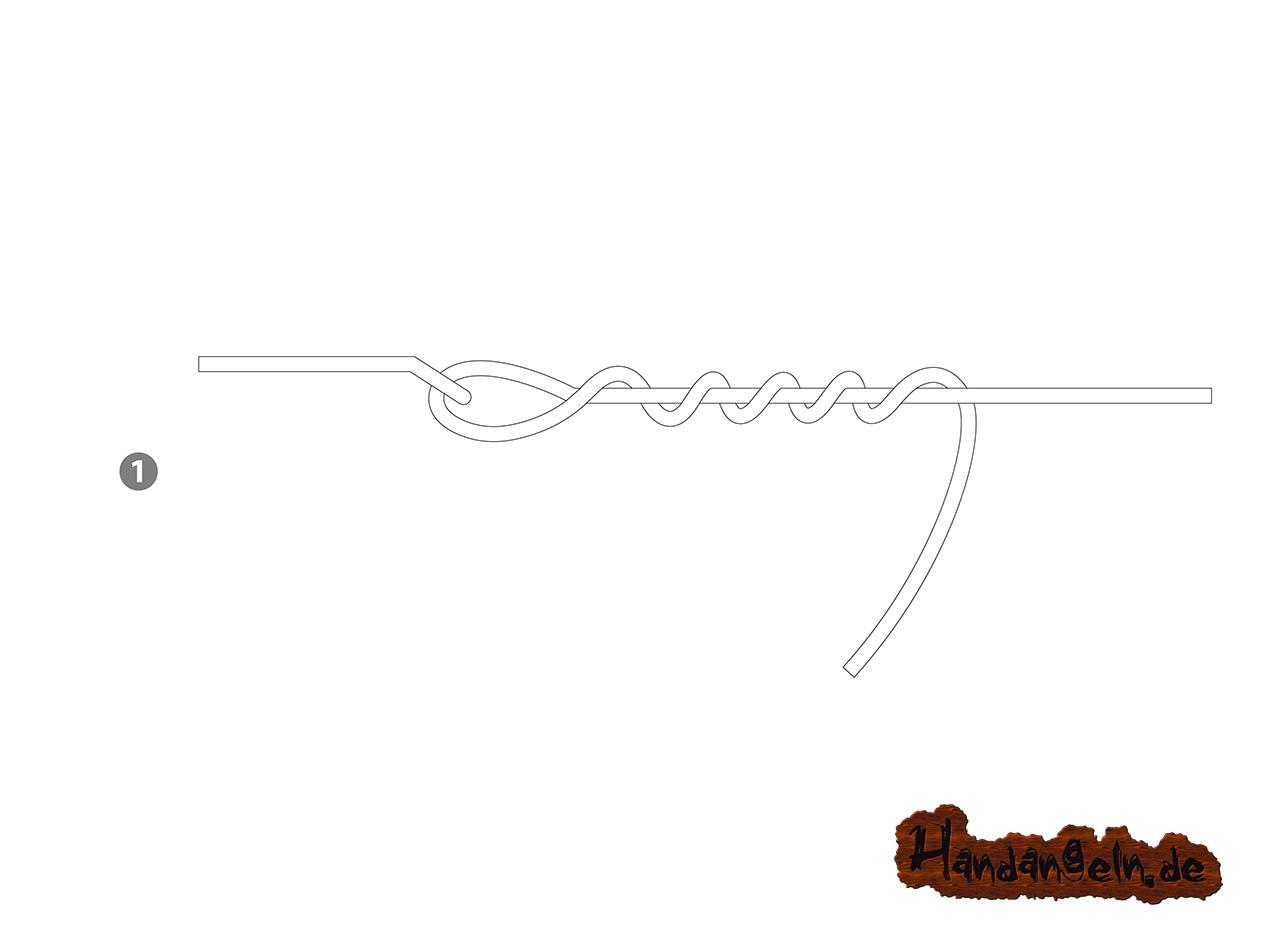 Aalhaken selber binden - 1 - verbesserter Klammerknoten Clinchknoten Aal