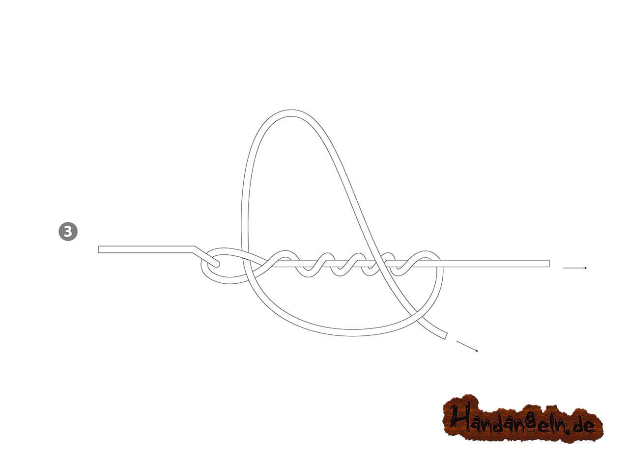 Aalhaken selber binden - 3 - verbesserter Klammerknoten Clinchknoten Aal