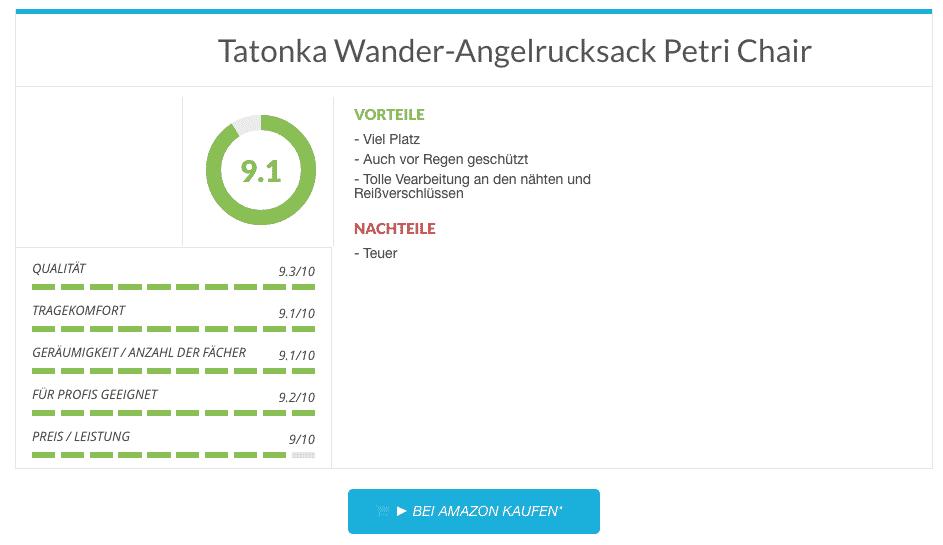 Angelrucksack Test: Tatonka Wander-Angelrucksack Petri Chair im test
