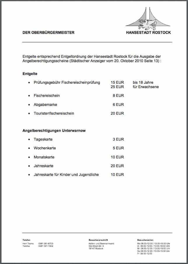 Angelschein Rostock Kosten Fischereischein