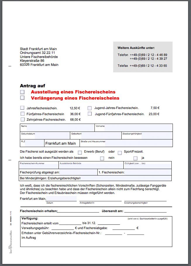 Angelschein beantragen Frankfurt verlängern