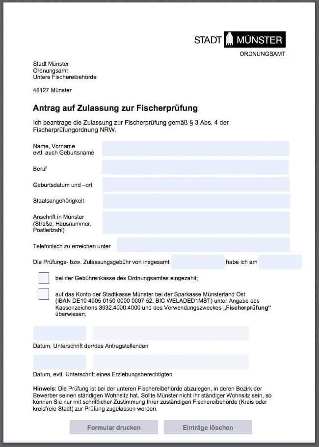 Angelscheinprüfung Münster Antrag