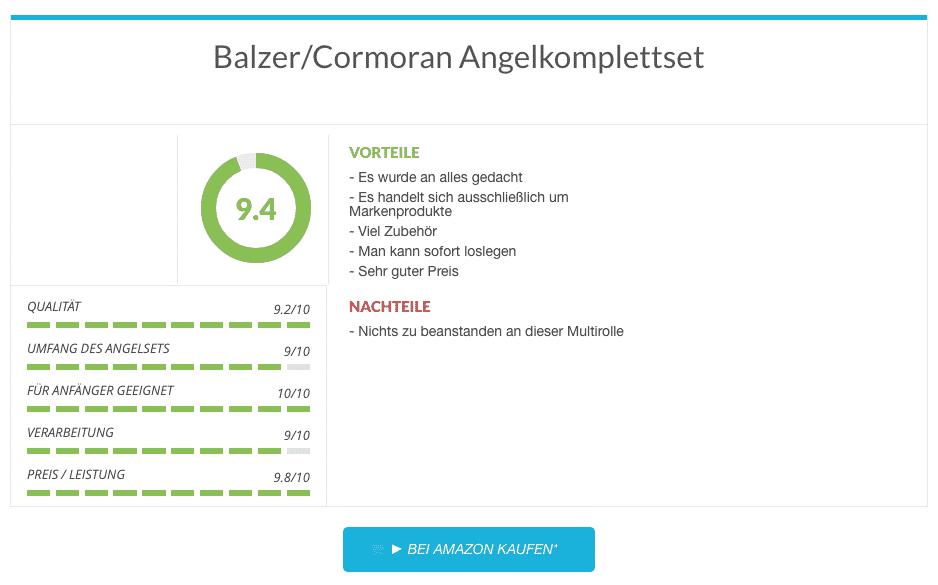 Angelset Test  - Balzer:Cormoran Angelkomplettset (mit Steckrute für Forelle und Zander)