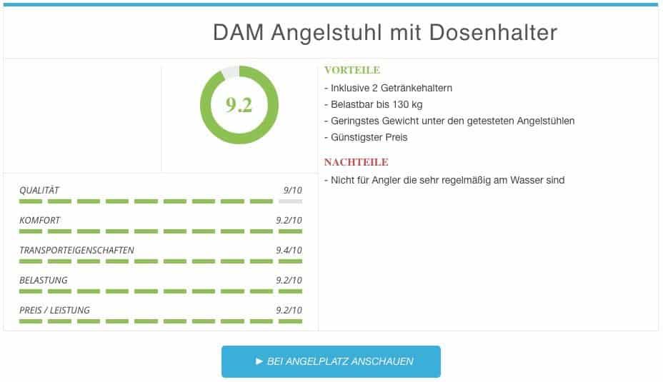 DAM Angelstuhl mit Dosenhalter Ergebnis