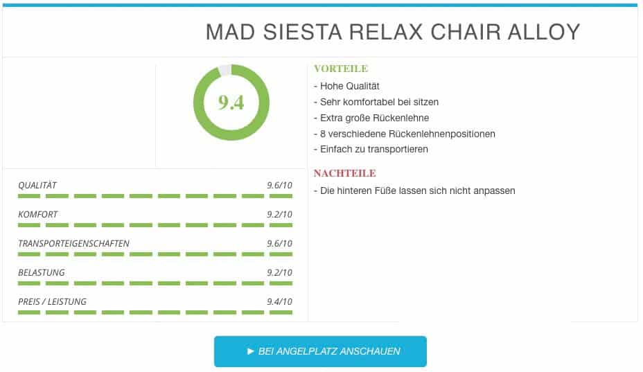 DAM MAD SIESTA RELAX CHAIR ALLOY Angelstuhl Ergebnis