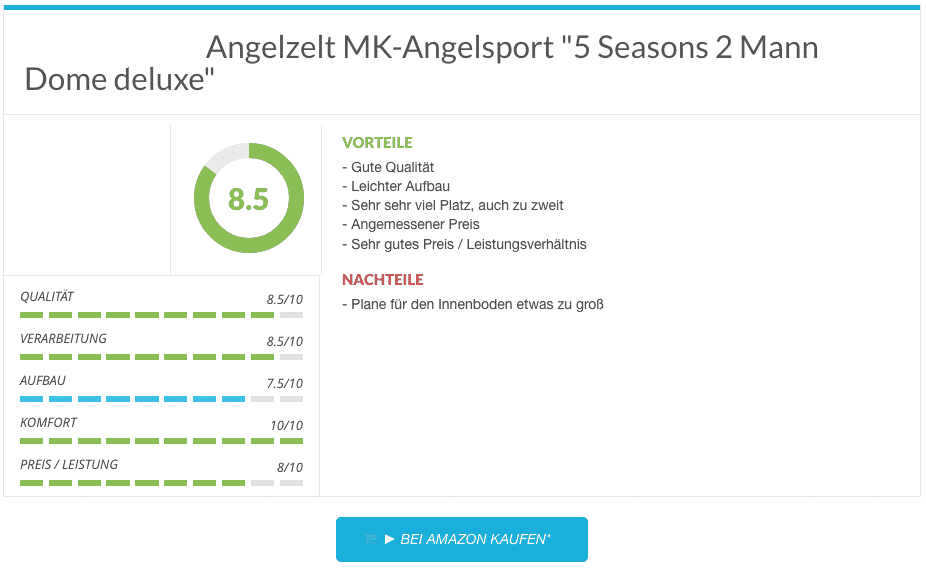 Angelzelt Test MK-Angelsport 5 Seasons 2 Mann Dome deluxe
