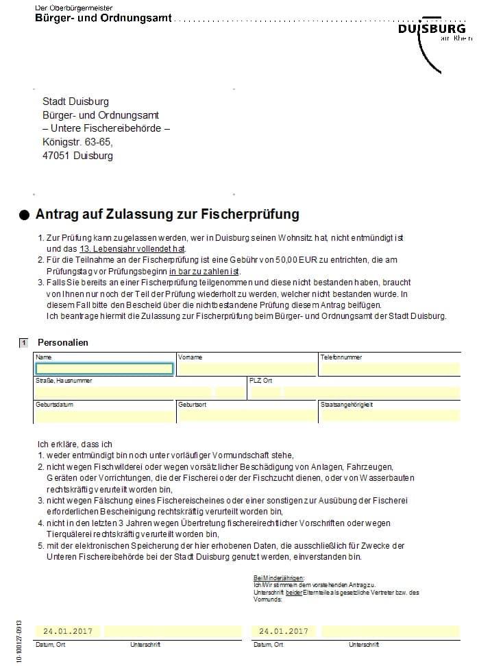 Anmeldung Fischerprüfung Duisburg