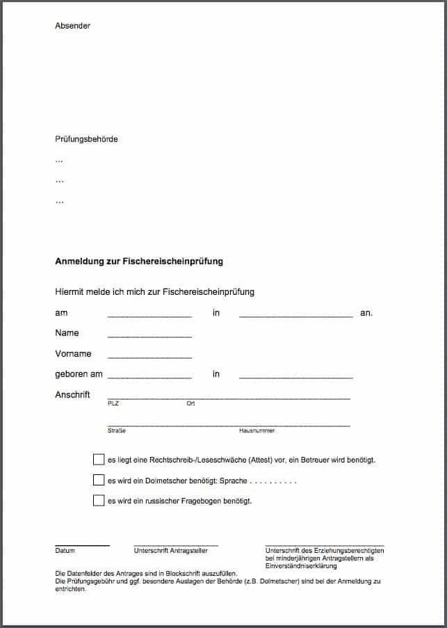 Anmeldung zur Fischereischeinpruefung Schwerin