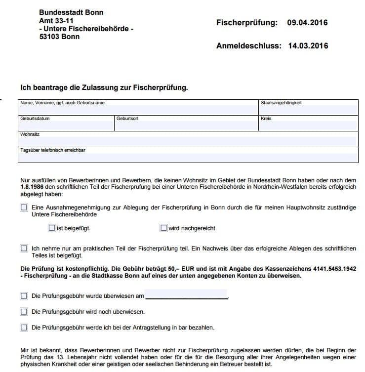 Anmeldung zur Fischerprüfung Bonn