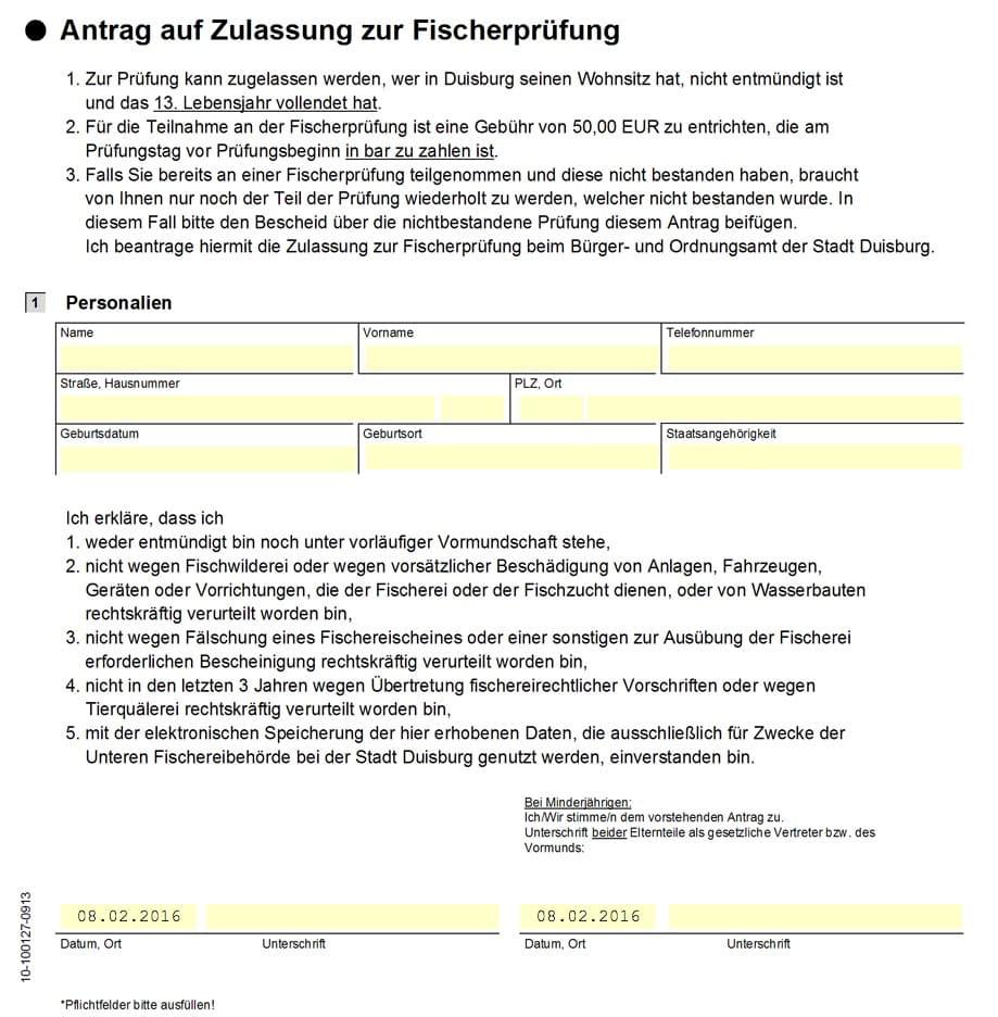 Antrag Zulassung Fischerprüfung