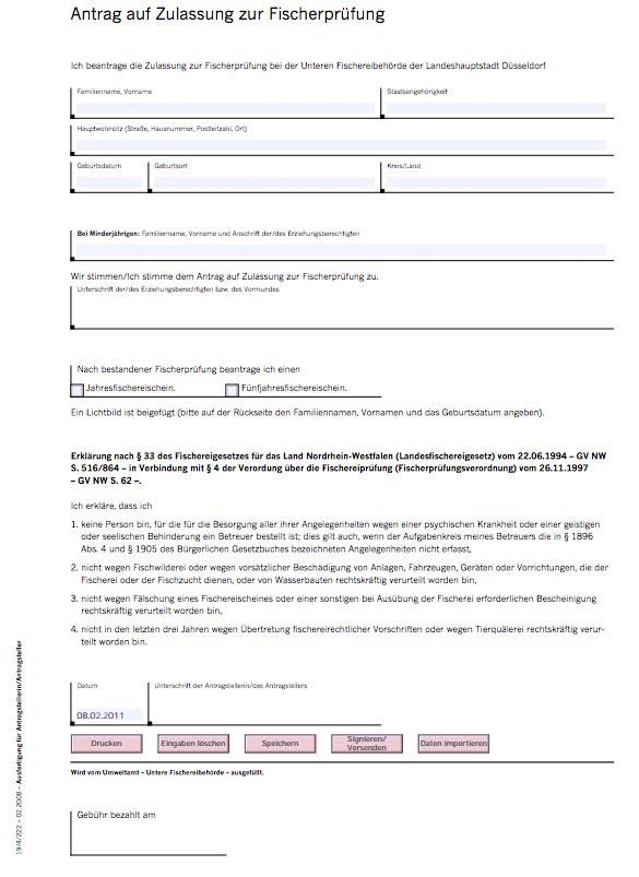 Antrag auf Zulassung zur Fischerprüfung Düsseldorf