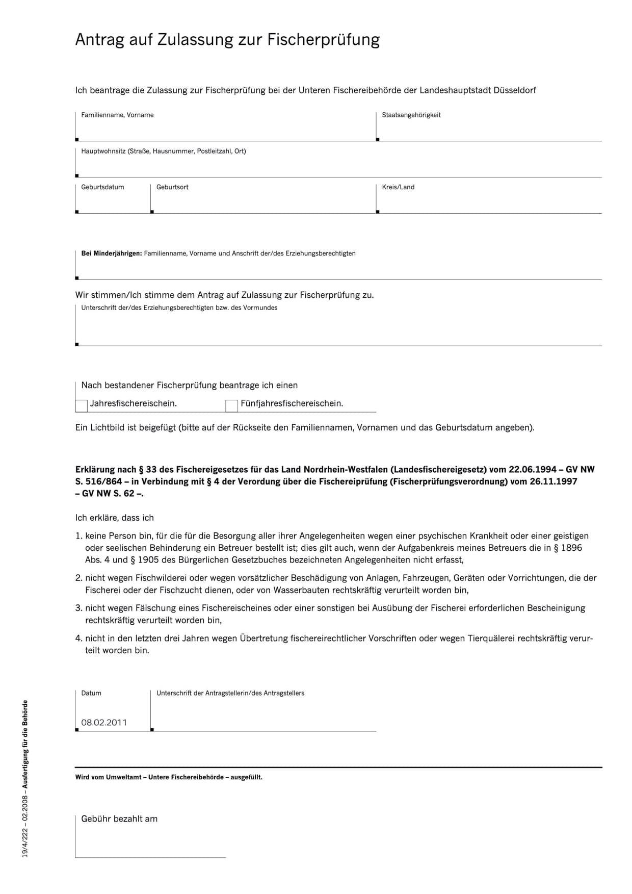 Antrag auf Zulassung zur Fischerprüfung Landeshauptstadt Düsseldorf