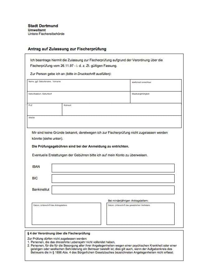 Antrag auf Zulassung zur Fischerpüfung Dortmund