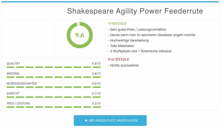 Shakespeare Agility Power Feederrute Ergebnis