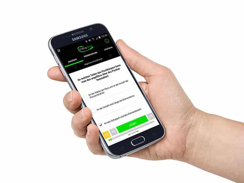 Fischereischein Rheinland Pfalz online mit Fishing King App Samsung Smartphone