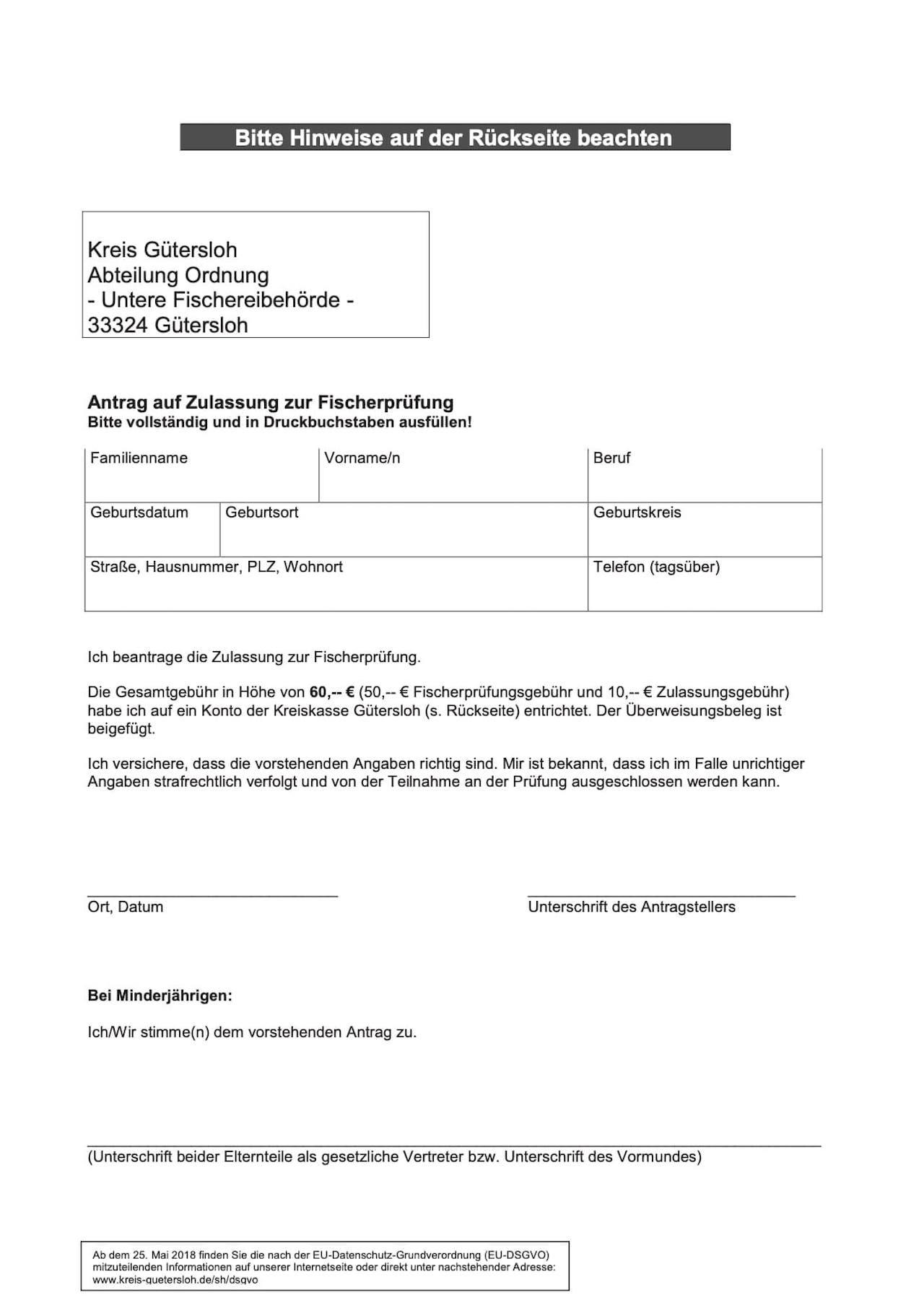 Fischerprüfung Gütersloh Antragsformular