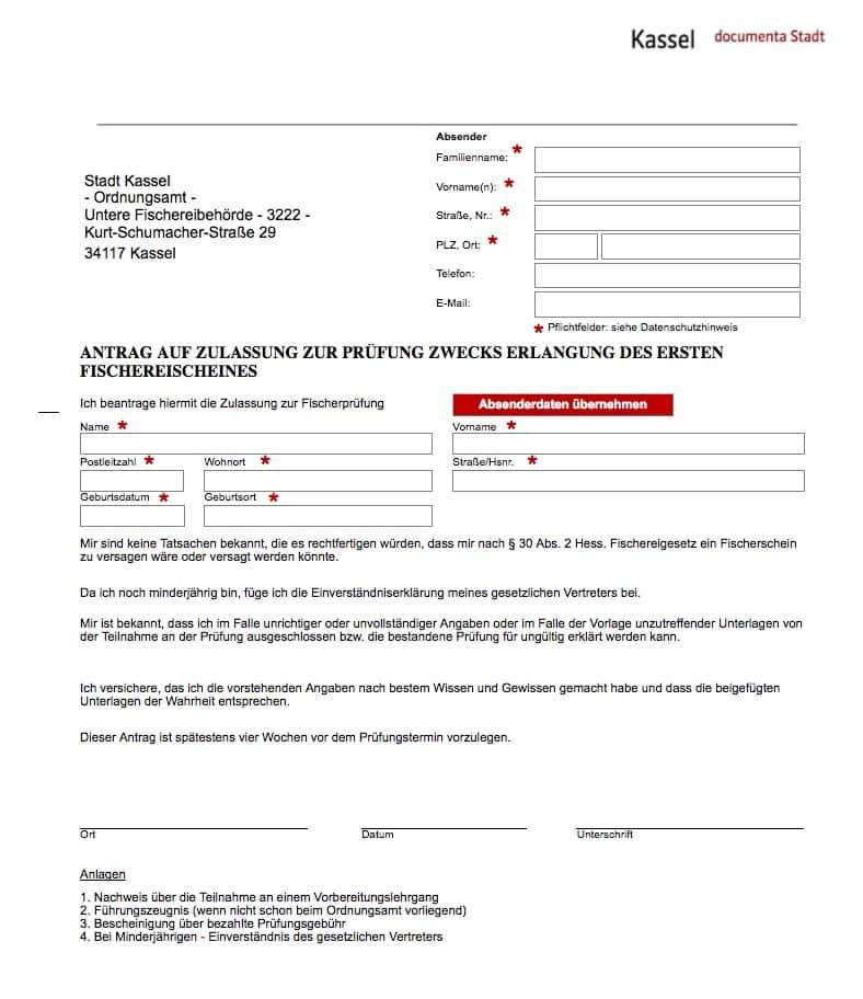 Fischerprüfung Kassel Antrag auf Zulassung