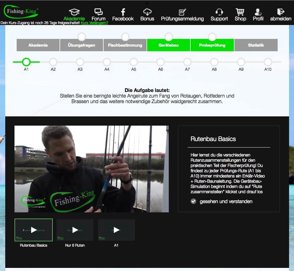 Fischerprüfung NRW online lernen Rutenbau Simulator