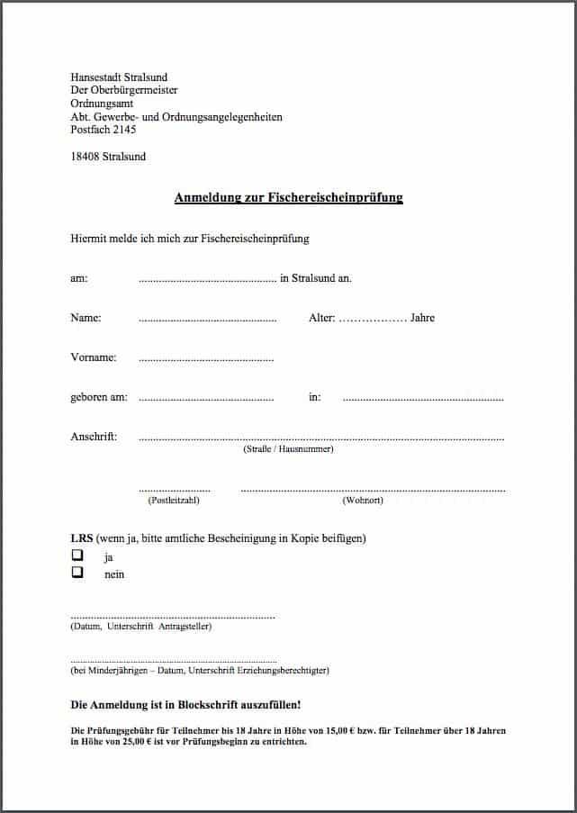 Fischerprüfung Stralsund Anmeldung