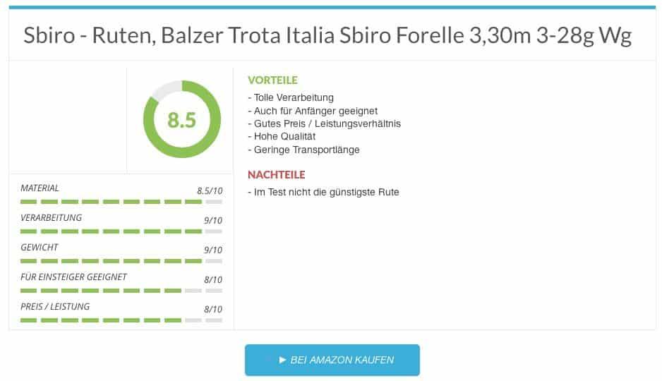Sbiro - Ruten, Balzer Trota Italia Sbiro Forelle 3,30m 3-28g Wg Forellenruten test