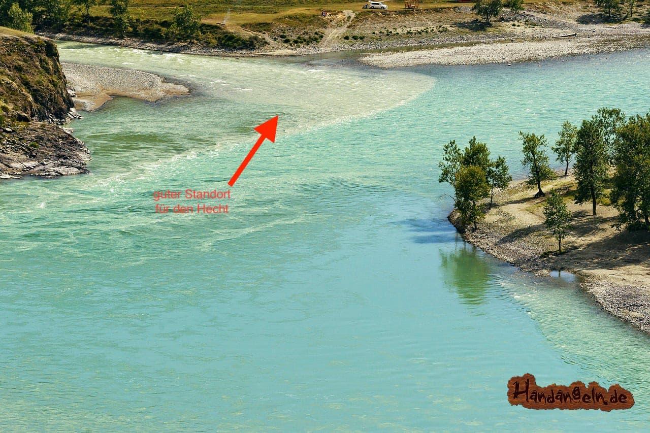 Hechtangeln am Fluss Position Standort