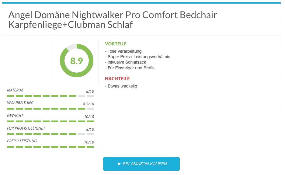 Angel Domäne Nightwalker Pro Comfort Bedchair Karpfenliege+Clubman Schlaf