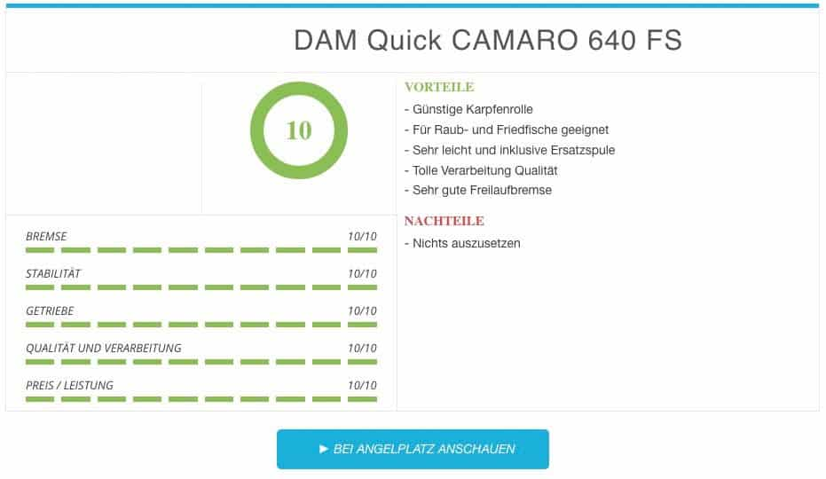DAM Quick CAMARO 640 FS Karpfenspule Vergleichssieger