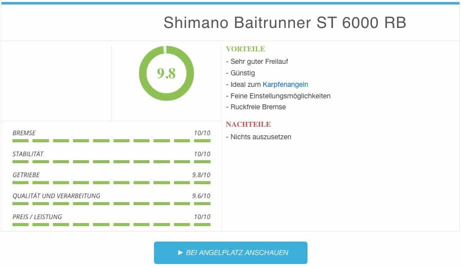 Shimano Baitrunner ST 6000 RB Freilaufrolle Ergebnis