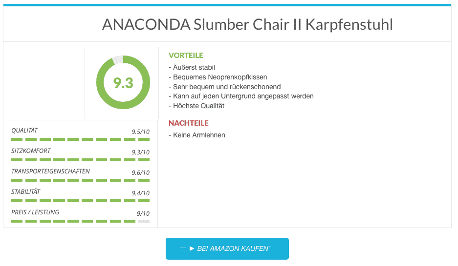 Karpfenstuhl Test - ANACONDA Slumber Chair II Karpfenstuhl