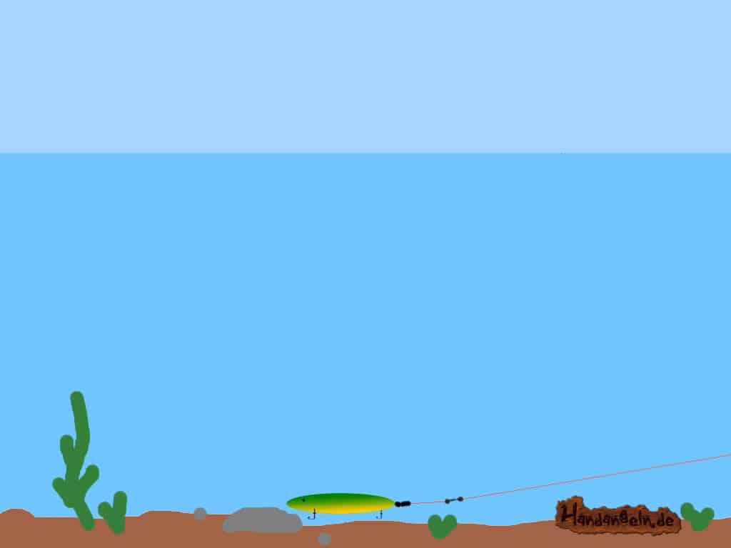 Kunstkoeder Montage beim Wolfsbarsch angeln