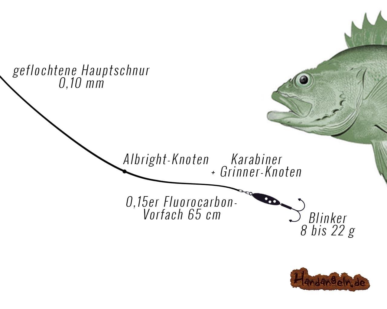 Illustration Montage Spinnfischen Barsch