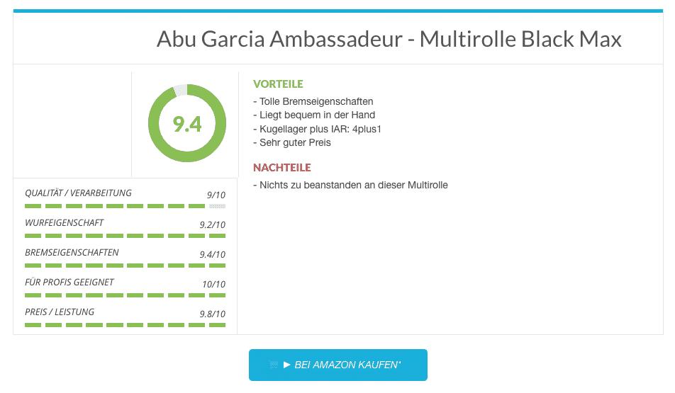 Abu Garcia Ambassadeur - Multirolle Black Max