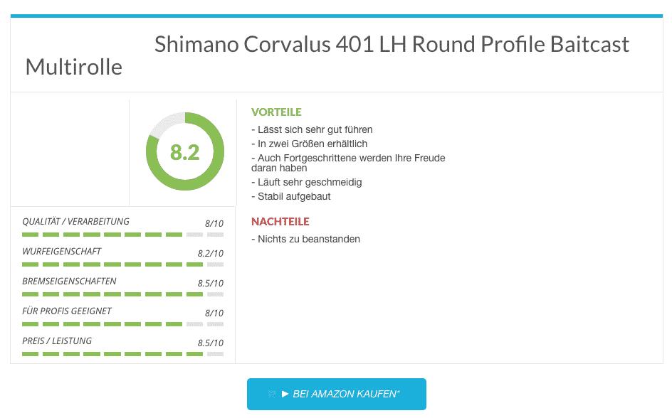 Shimano Corvalus 401 LH Round Profile Baitcast Multirolle