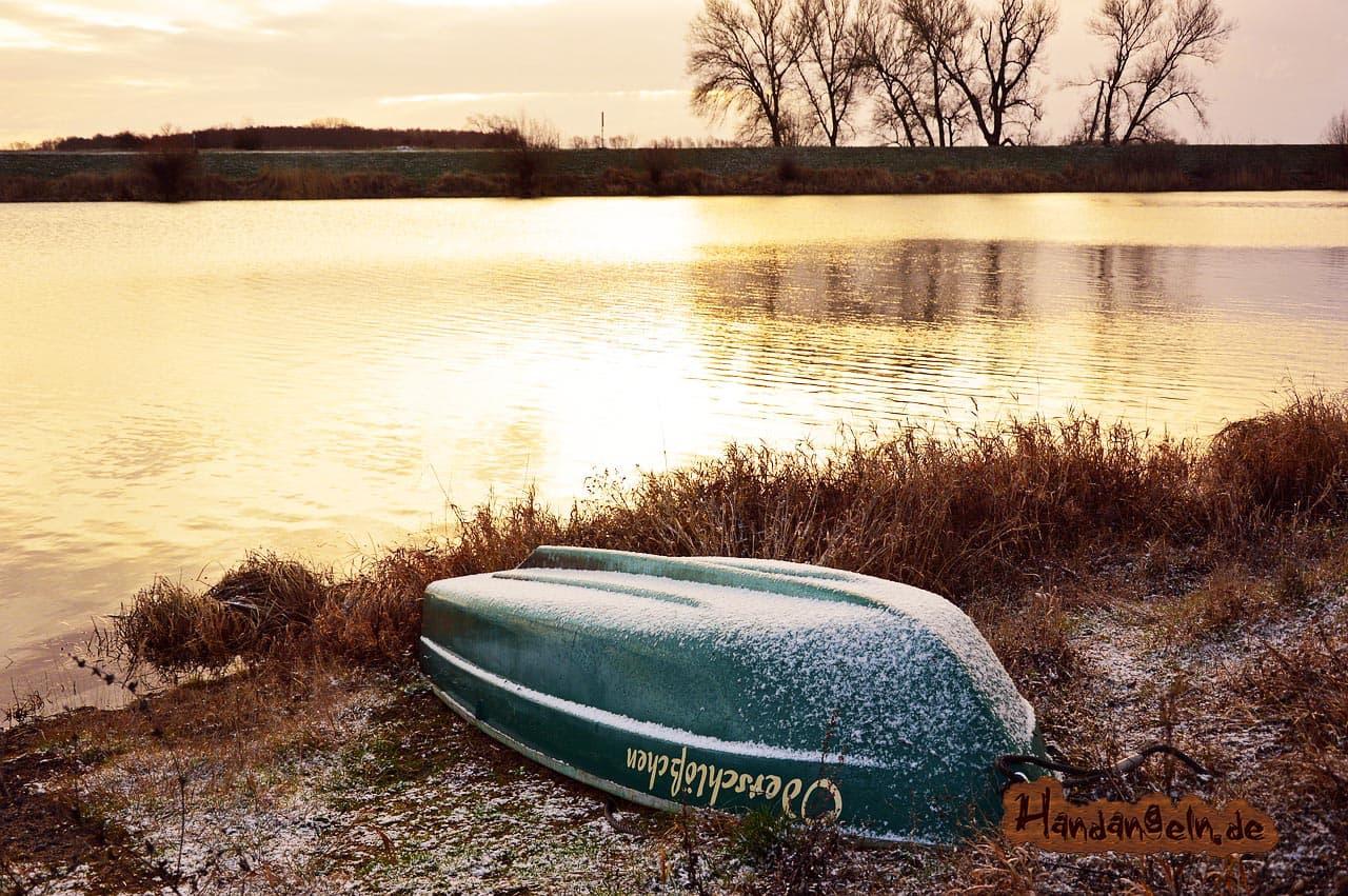 Rapfenangeln im Winter strömungsfreie Flachwasser