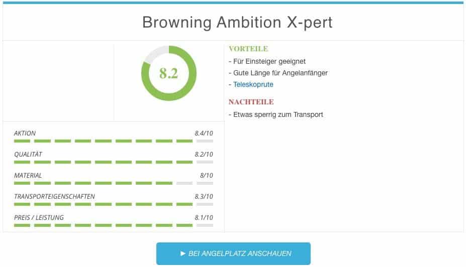 Stippruten Test - Browning Ambition X-pert Ergebnis Stipprute