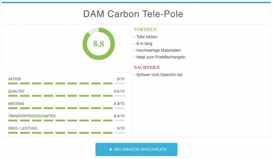 DAM Carbon Tele-Pole Stipprute Test