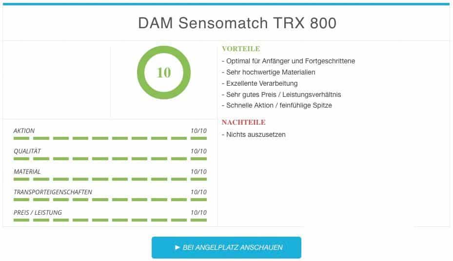 DAM Sensomatch TRX 800 beste Stipprute Vergleichssieger Ergebnis