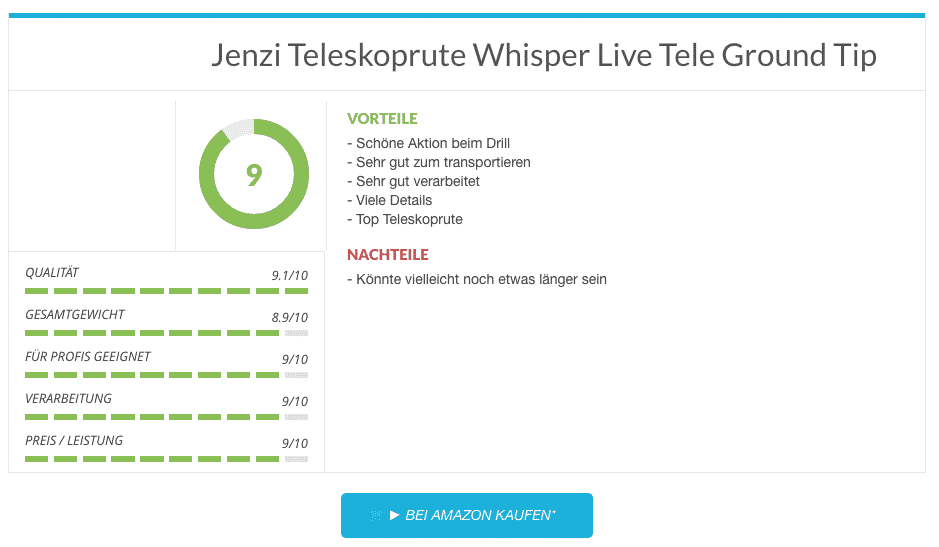 Jenzi Teleskoprute Whisper Live Tele Ground Tip