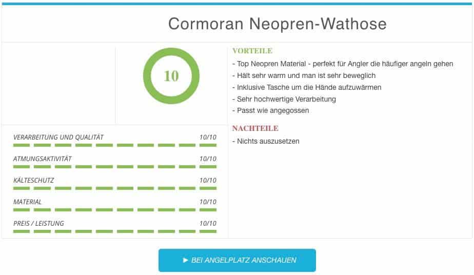 Cormoran Neopren Wathose Vergleichssieger Egebnis