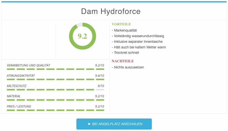 Dam Hydroforce Nylon Taslan Wathose Ergebnis