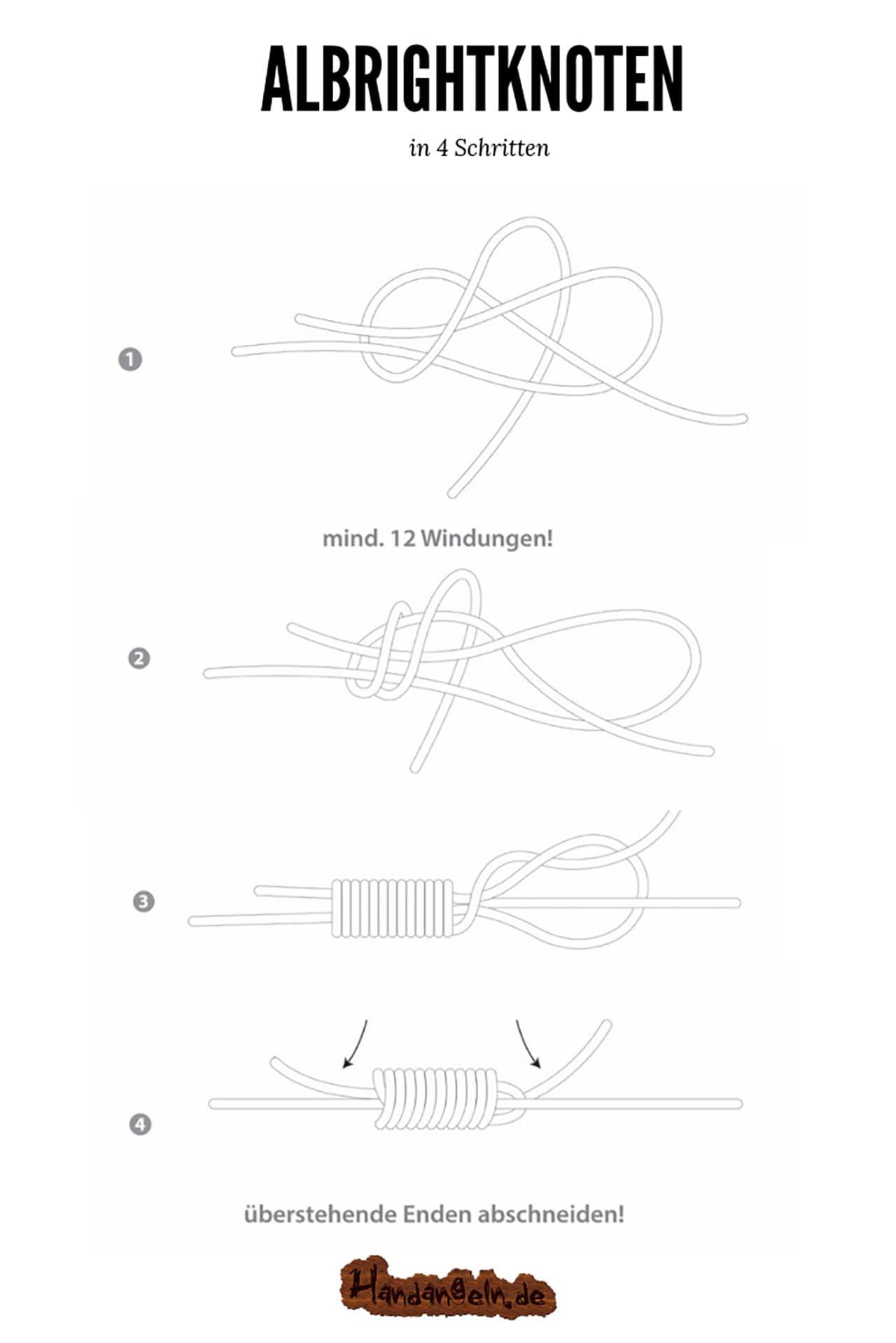 Illustration Montage Albrightknoten unterschiedlich dicke Schnüre