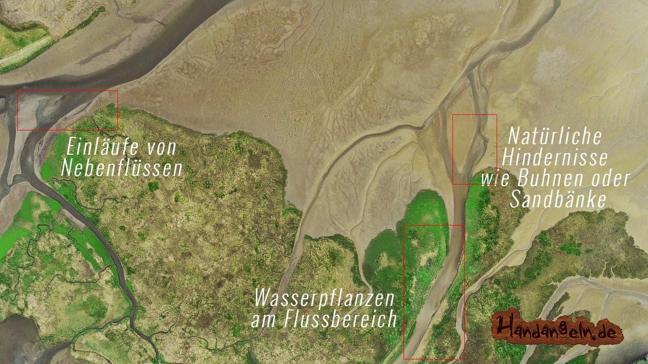 Zanderangeln Fluss Gewässerstruktur Karte