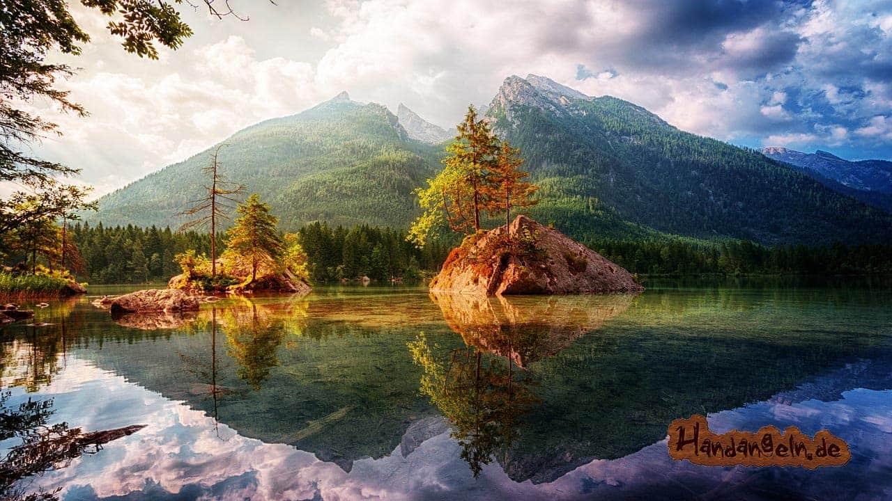 Zanderangeln im Sommer Alpen Ramsau Hintersee