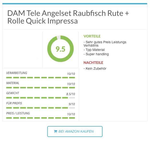 Zanderrute - DAM Tele Angelset Raubfisch Rute + Rolle Quick Impressa